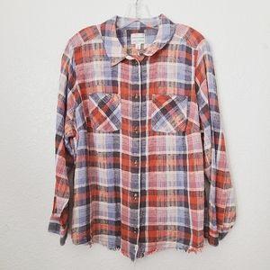 Melrose & Market Red/Blue Button Up Plaid Shirt